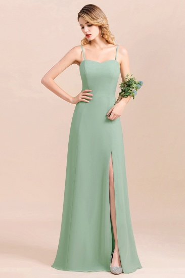 Dusty Sage Spaghetti Straps Sweetheart Affordable Bridesmaid Dress_7