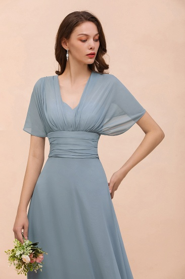 New Arrival Dusty Blue Ruched Long Convertible Bridesmaid Dresses_58