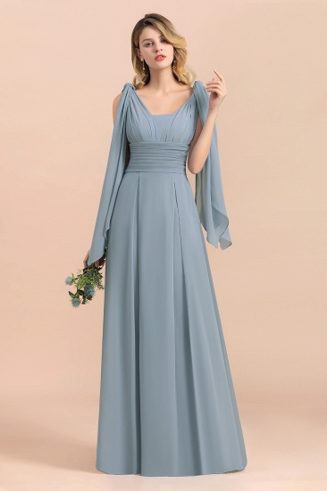 Affordable Dusty Blue Ruffle Convertible Bridemsiad Dress_5