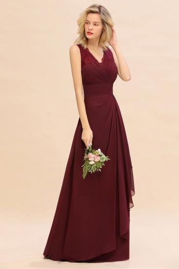 BMbridal Elegant Lace V-Neck Burgundy Chiffon Bridesmaid Dresses with Ruffle_6