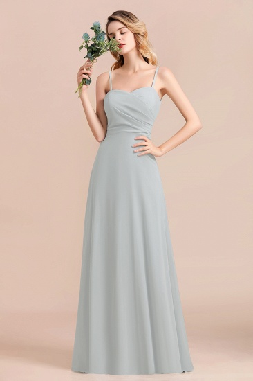 Mist Spaghetti-Straples Long Chiffon Bridesmaid Dresses Online