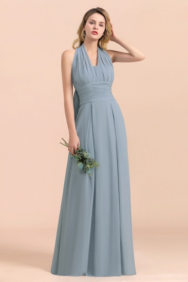 Affordable Dusty Blue Ruffle Convertible Bridemsiad Dress_8
