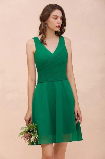 Affordable V-Neck Sleeveless Ruffle Short Bridesmaid Dress_9