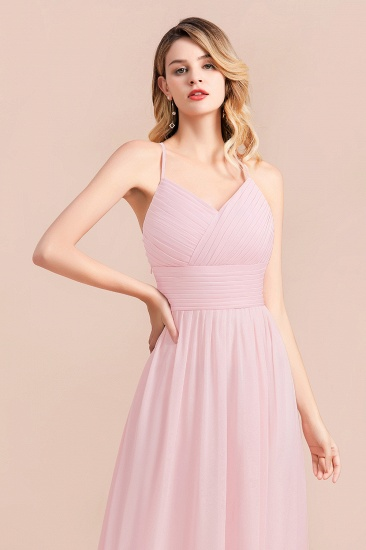 Gorgeous Spaghetti Straps Ruffle Pink Chiffon Bridesmaid Dress Cheap_9