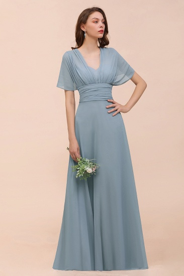 New Arrival Dusty Blue Ruched Long Convertible Bridesmaid Dresses_63