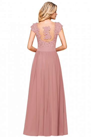 BMbridal Elegant Long Chiffon Prom Dress With Lace Appliques On Sale_16