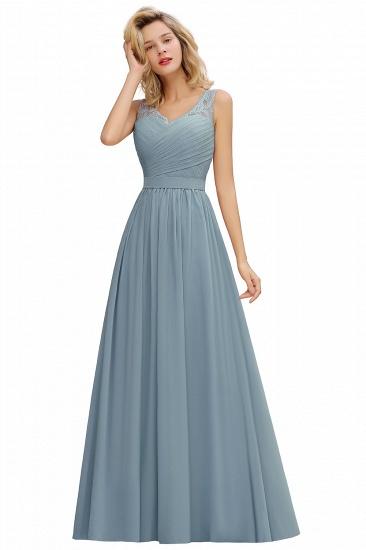 BMbridal A-line Chiffon Lace V-Neck Ruffles Bridesmaid Dress_6