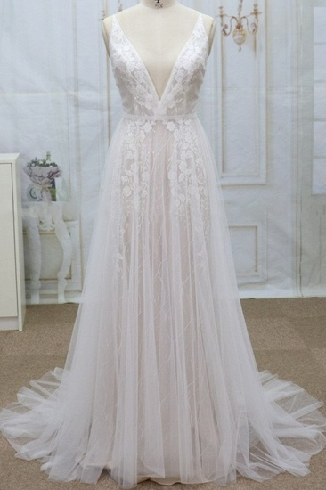 Sexy V-neck Straps Sleeveless Wedding Dresses Lace Appliques Tulle Bridal Gowns On Sale_1