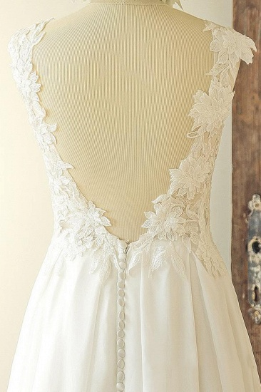 Chic Sleeveless Jewel Appliques Wedding Dresses A-line Chiffon Ruffles Bridal Gowns On Sale_4