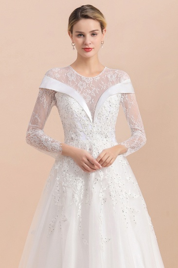 Gorgeous Long Sleeve Lace Wedding Dress Online Appliques Bridal Gowns With Beadings_9