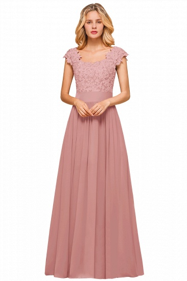 BMbridal Elegant Long Chiffon Prom Dress With Lace Appliques On Sale_2