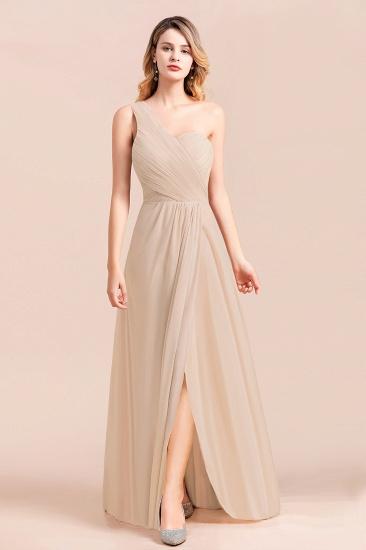 Chic One Shoulder Ruffle Champagne Chiffon Bridesmaid Dress_4