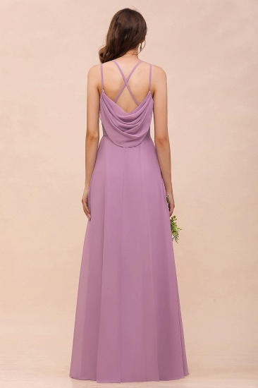 Gorgeous Halter Wisteria Chiffon Bridesmaid Dresses with Draped Back_4