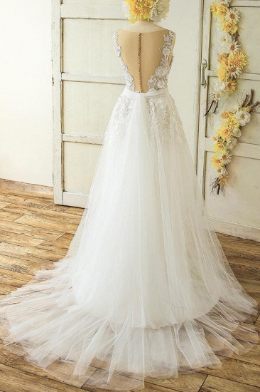 Glamorous Straps Appliques A-line Wedding Dresses White Tulle Bridal Gowns On Sale_3