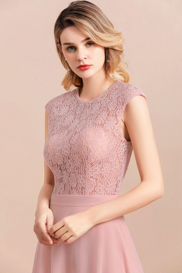 Elegant A-Line Sleeveless Dusty Rose Lace Bridesmaid Dress Online_8