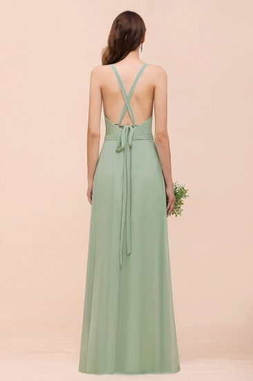Glamorous Dusty Sage V-Neck Straps Affordable Bridesmaid Dress_3