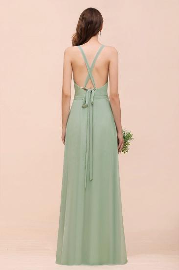 BMbridal Glamorous Dusty Sage V-Neck Straps Affordable Bridesmaid Dress_3