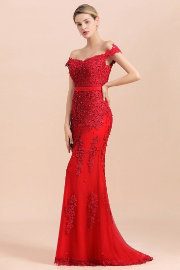 Elegant Mermaid Off the Shoulder Red Lace Appliques Bridesmaid dresses_7