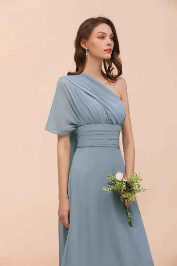 New Arrival Dusty Blue Ruched Long Convertible Bridesmaid Dresses_62