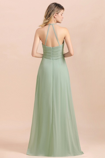Affordable Halter Sweetheart Chiffon Dusty Sage Bridesmaid Dresses_3