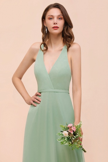 Glamorous Dusty Sage V-Neck Straps Affordable Bridesmaid Dress_8