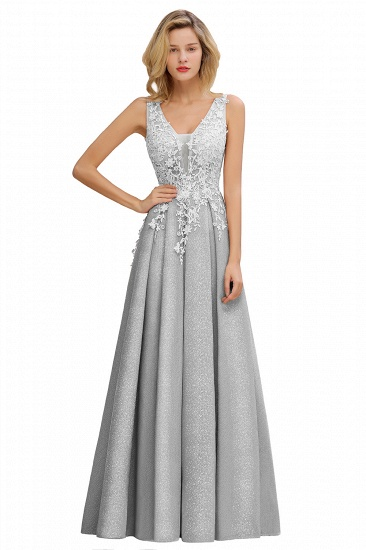 Dusty Pink V-Neck Long Prom Dress With Lace Appliques Online_4