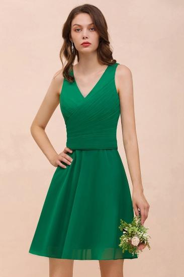 Affordable V-Neck Sleeveless Ruffle Short Bridesmaid Dress_7