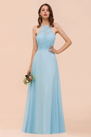 BMbridal Chic Halter Sleeveless Affordable Sky Blue Bridesmaid Dress with Lace_2