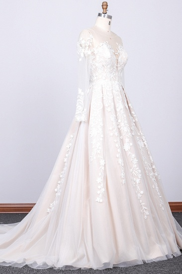 Gorgeous Longsleeves Jewel A-line Wedding Dresses White Appliques Lace Bridal Gowns On Sale_3