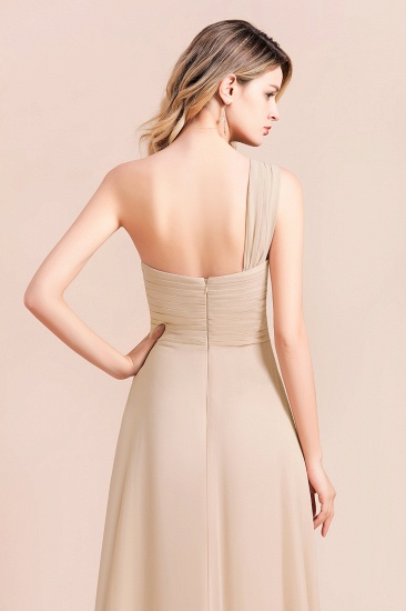 Chic One Shoulder Ruffle Champagne Chiffon Bridesmaid Dress_9
