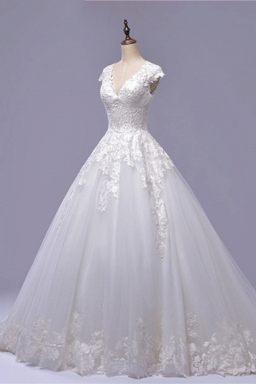 BMbridal Gorgeous V-neck A-line Tulle Wedding Dresses Appliques White Shortsleeves Bridal Gowns On Sale_2