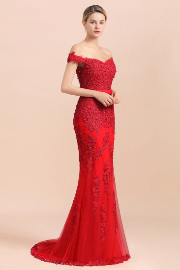 BMbridal Elegant Mermaid Off the Shoulder Red Lace Appliques Bridesmaid dresses_6