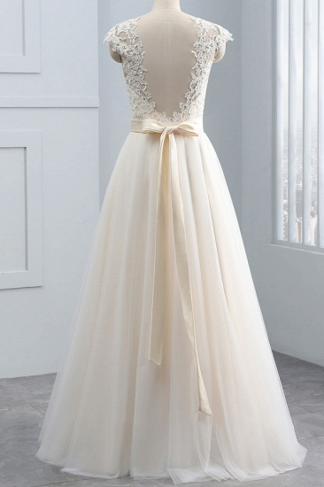 Unique Appliques Champagne Sleeveless Wedding Dresses Straps Chiffon A-line Bridal Gown On Sale_3