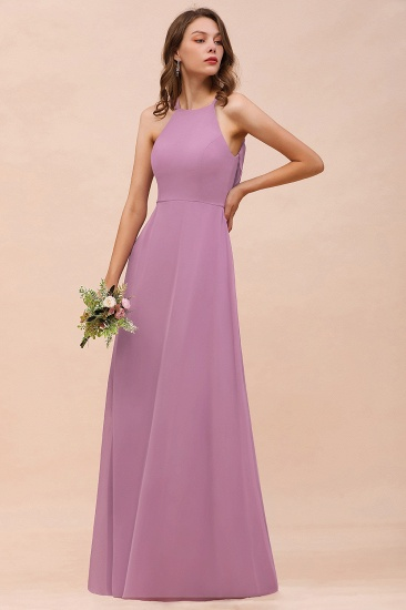Gorgeous Halter Wisteria Chiffon Bridesmaid Dresses with Draped Back_3