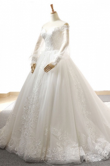 BMbridal Affordable Longsleeves Appliques Tulle Wedding Dresses A-line Lace White Bridal Gowns On Sale_4
