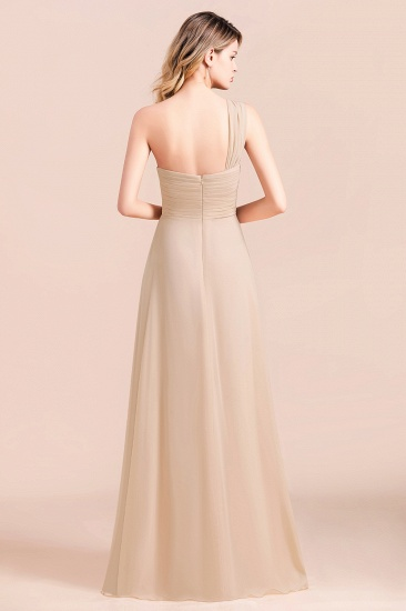 Chic One Shoulder Ruffle Champagne Chiffon Bridesmaid Dress_3