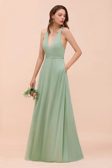 Glamorous Dusty Sage V-Neck Straps Affordable Bridesmaid Dress_7