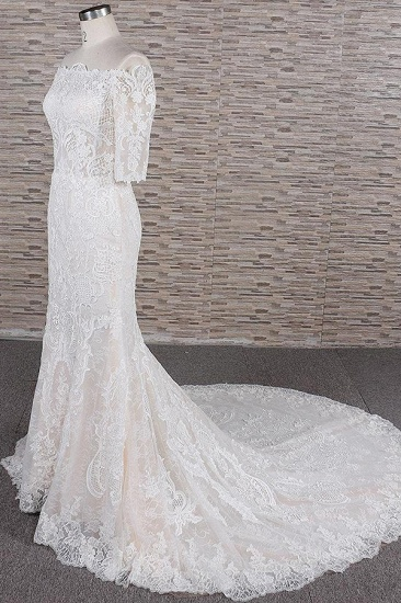 Unique Halfsleeves Lace Mermaid Wedding Dresses Champagne Bateau Bridal Gowns On Sale_4