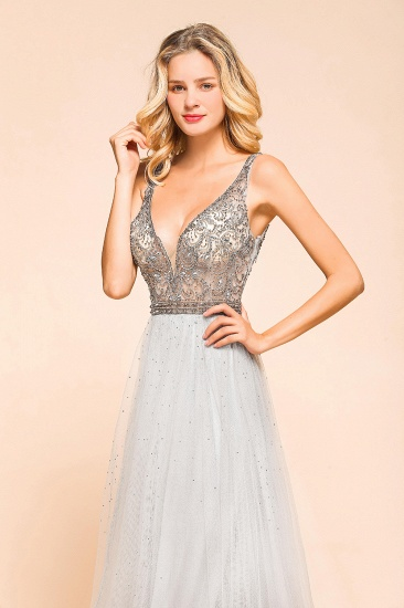 Charming V-Neck Tulle Long Prom Dress With Crystals On Sale_5
