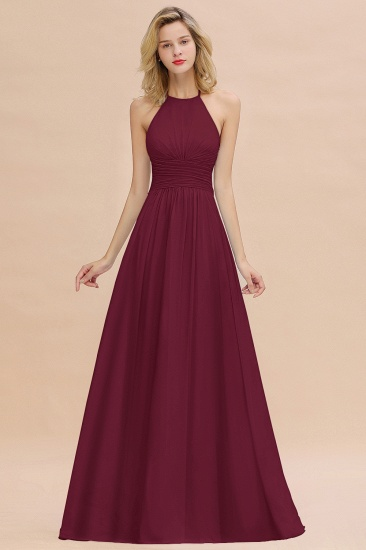 Glamorous Halter Backless Long Affordable Bridesmaid Dresses with Ruffle_44