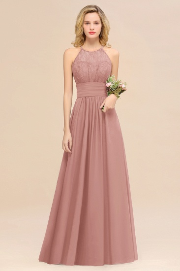 Elegant Halter Ruffles Sleeveless Grape Lace Bridesmaid Dresses Cheap_50