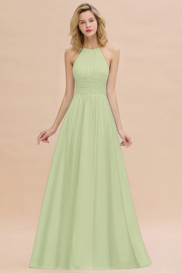 Glamorous Halter Backless Long Affordable Bridesmaid Dresses with Ruffle_35