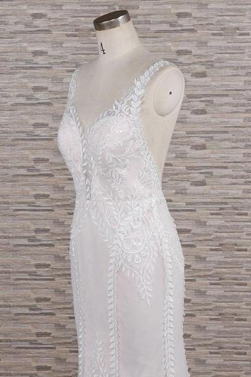 BMbridal Elegant Straps A-line Lace Wedding Dresses White Mermaid V-neck Bridal Gowns On Sale_6