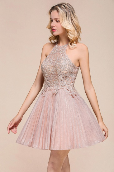 BMbridal Lovely Halter Lace Short Prom Dress Sleeveless Mini Party Gowns_9