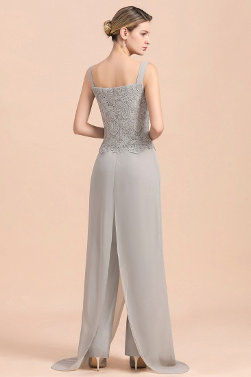 BMbridal Elegant Silver Lace Top Chiffon Mother of Bride Jumpsuit Online with Wrap_11