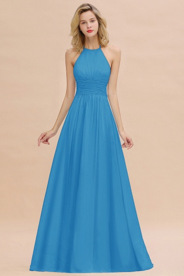 Glamorous Halter Backless Long Affordable Bridesmaid Dresses with Ruffle_25