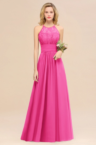 Elegant Halter Ruffles Sleeveless Grape Lace Bridesmaid Dresses Cheap_9