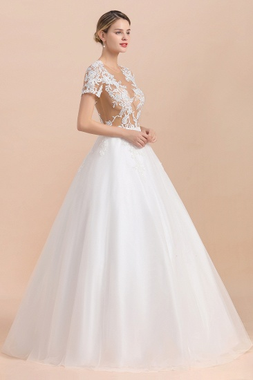 BMbridal Sexy See Through Tulle Appliques Short Sleeves Wedding Dress_6