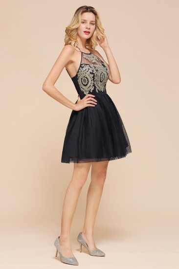 BMbridal Lovely Halter Tulle Short Prom Dress Lace Appliques Homecoming Dress Online_7