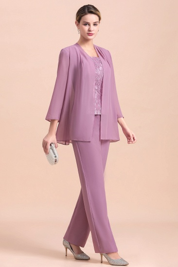 Elegant Cap-Sleeves Lace Chiffon Affordable Mother of Bride Jumpsuit Online with Wrap_4